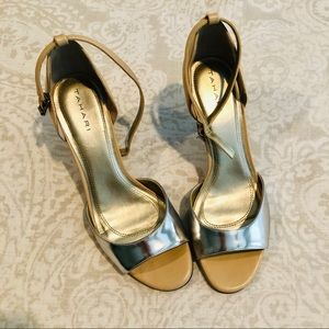 Tahari Scalloped Silver and Nude Ankle Strap Heels